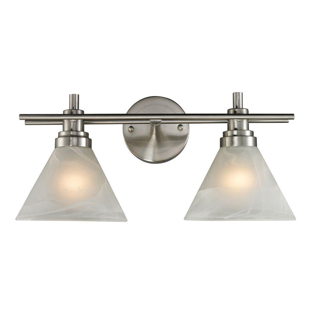 Pemberton 2-Light Brushed Nickel Wall Mount Bath Bar Light