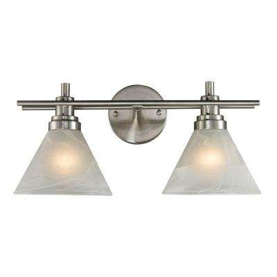 Pemberton 2-Light Brushed Nickel Wall Mount Bath Bar Light