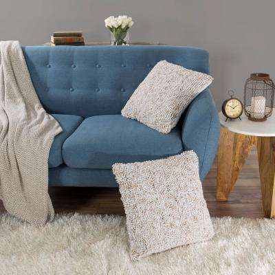 Modern Ombre Loop Ivory Decorative Pillow