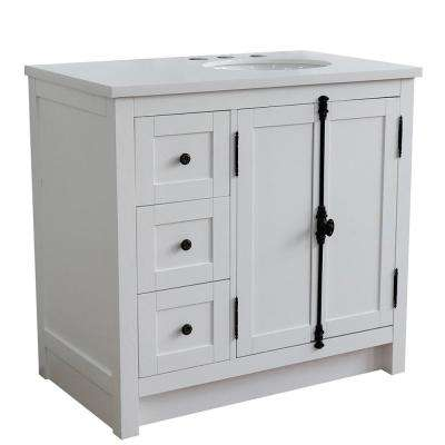 Plantation 37 in. W x 22 in. D x 36 in. H Bath Vanity in Glacier Ash with White Quartz top and Right Side Oval Sink
