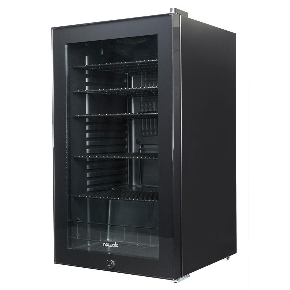 19 in. 126-Can Black Freestanding Beverage Cooler