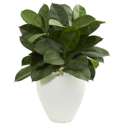 Indoor 29-In. Artificial Rubber Plant in White Planter