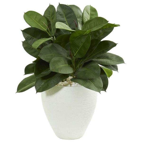 Nearly Natural Indoor 29-In. Artificial Rubber Plant in White Planter 9242