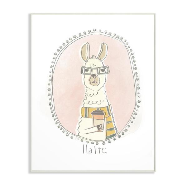 13 in. x 19 in. ''Caffeinated Cutie Llatte Llama Funny Cartoon Coffee'' by June Erica Vess Printed Wood Wall Art