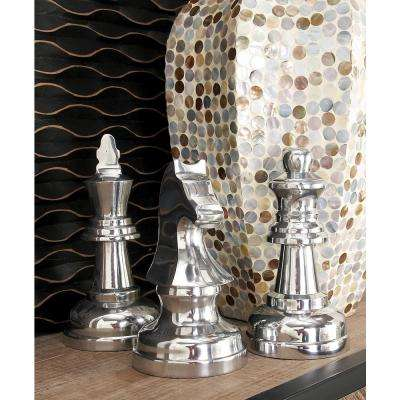 Contemporary Silver Chess Abstract Decorative Sculptures (Set of 3)