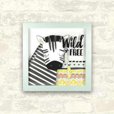 12 in. x 12 in. Wild and Free 1-Piece Shadowbox with Raised Shapes