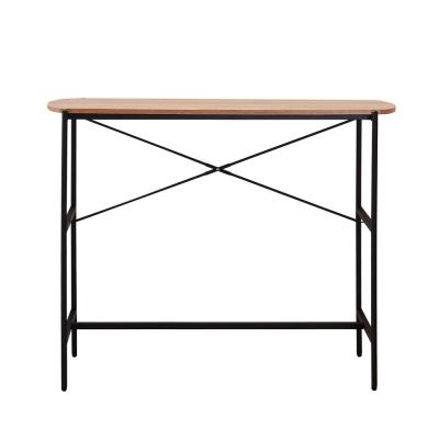 Querencia 47 in. Oak/Black Large Rectangle Particle Board Coffee Table with Storage Shelf
