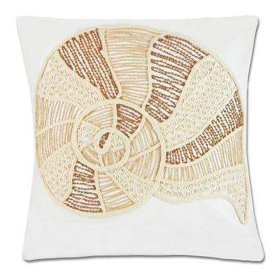 Beaded Nautilus Shell Pillow