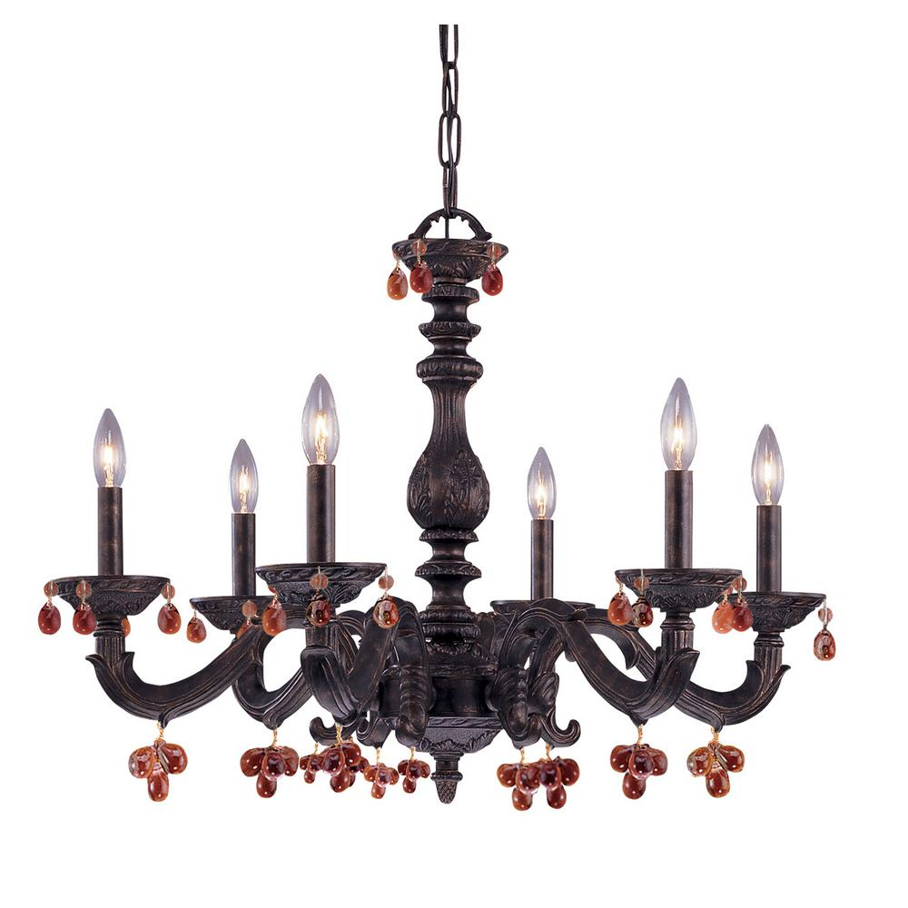 Venetian Bronze Chandelier: Filament Design Welles 6-Light Durango Bronze Chandelier
