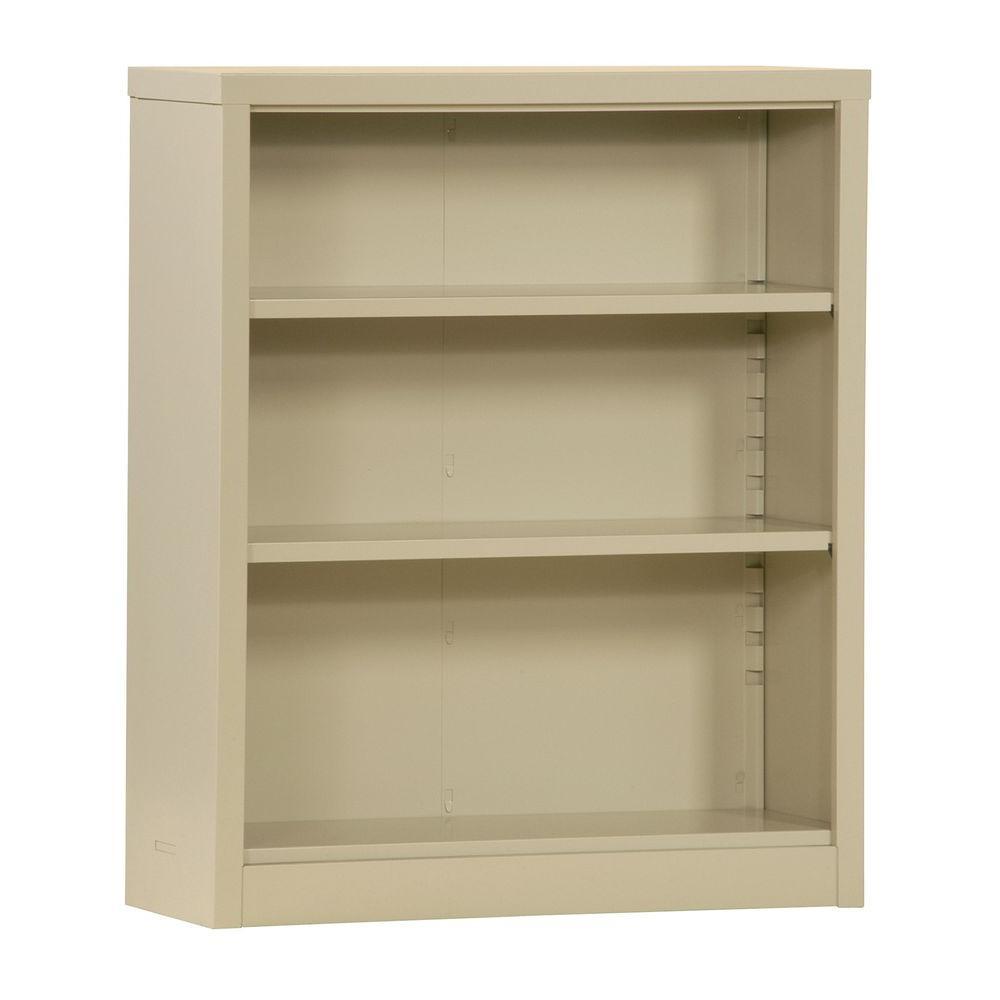 Deals on Sandusky 42-in Putty Metal 3-shelf Standard Bookcase w/Shelves
