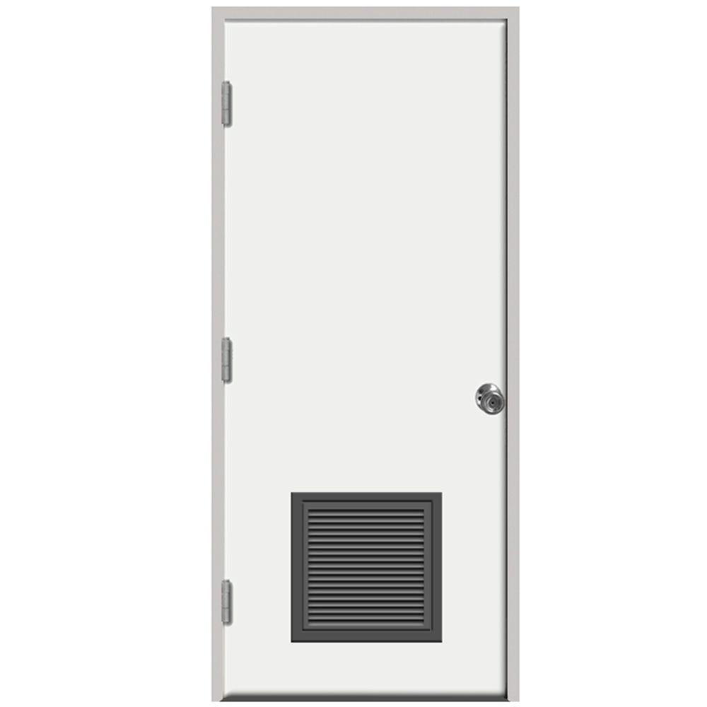 Steves sons 24 in x 80 in premium vented flush white - Right hand outswing exterior door ...