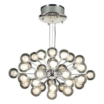37-Light Polished Chrome Pendant with Clear Glass Shade