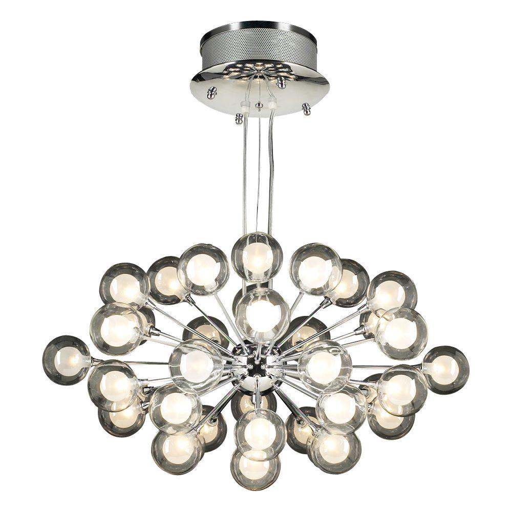 plc lighting 37 light polished chrome pendant with clear glass shade