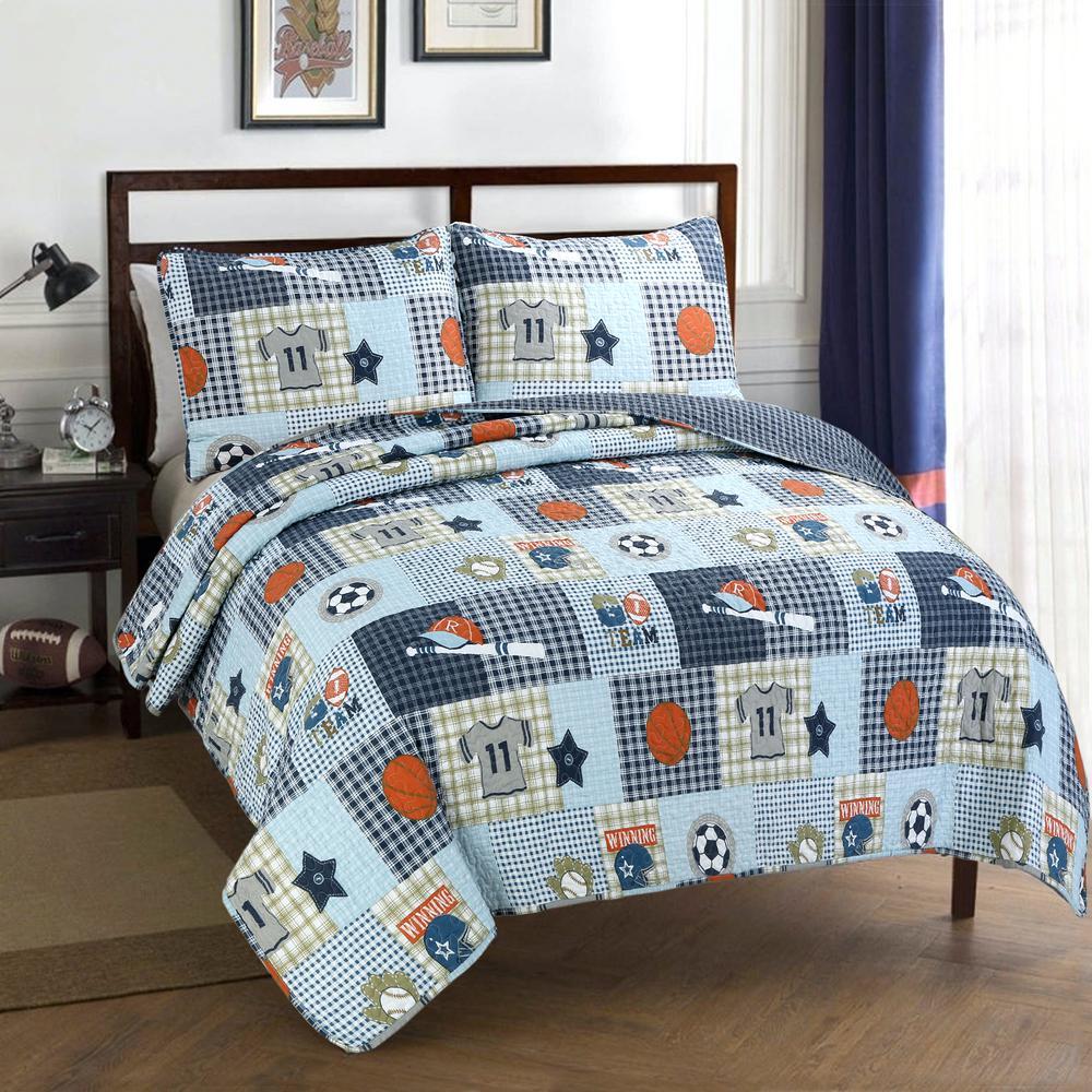 Little League Sports Baseball Basketball Football Soccer 3-Piece Blue Plaid Patchwork Cotton Poly Queen Quilt Bed Set