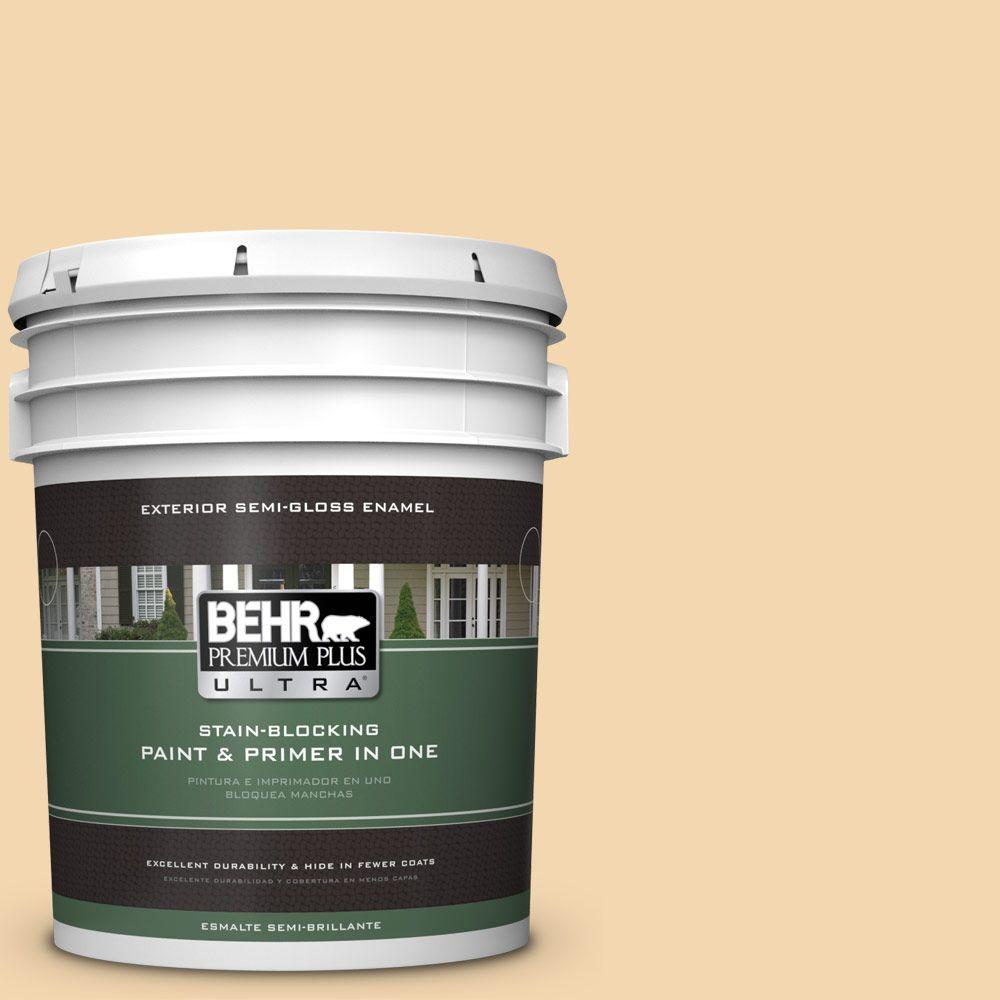 BEHR Premium Plus Ultra 5-gal. #M270-3 Cream Custard Semi-Gloss Enamel Exterior Paint