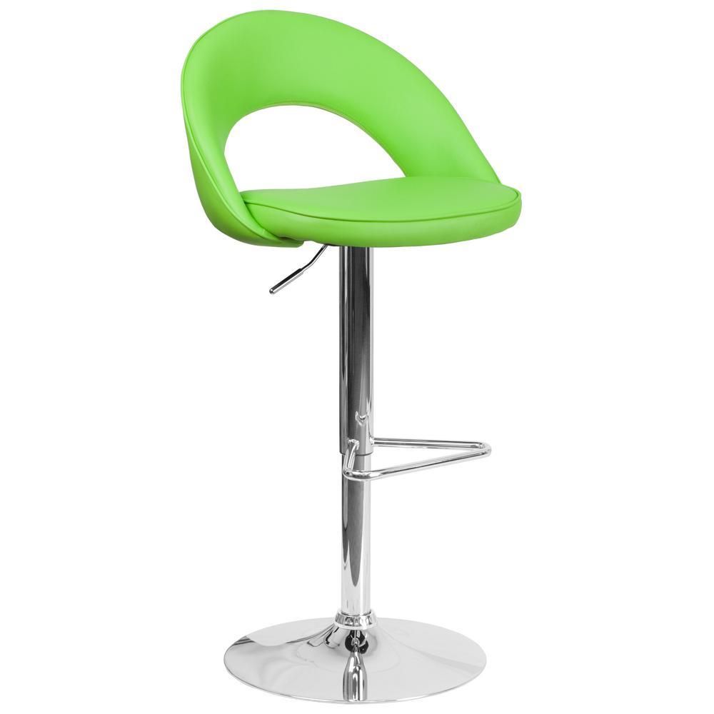 Adjustable Height Green Cushioned Bar Stool