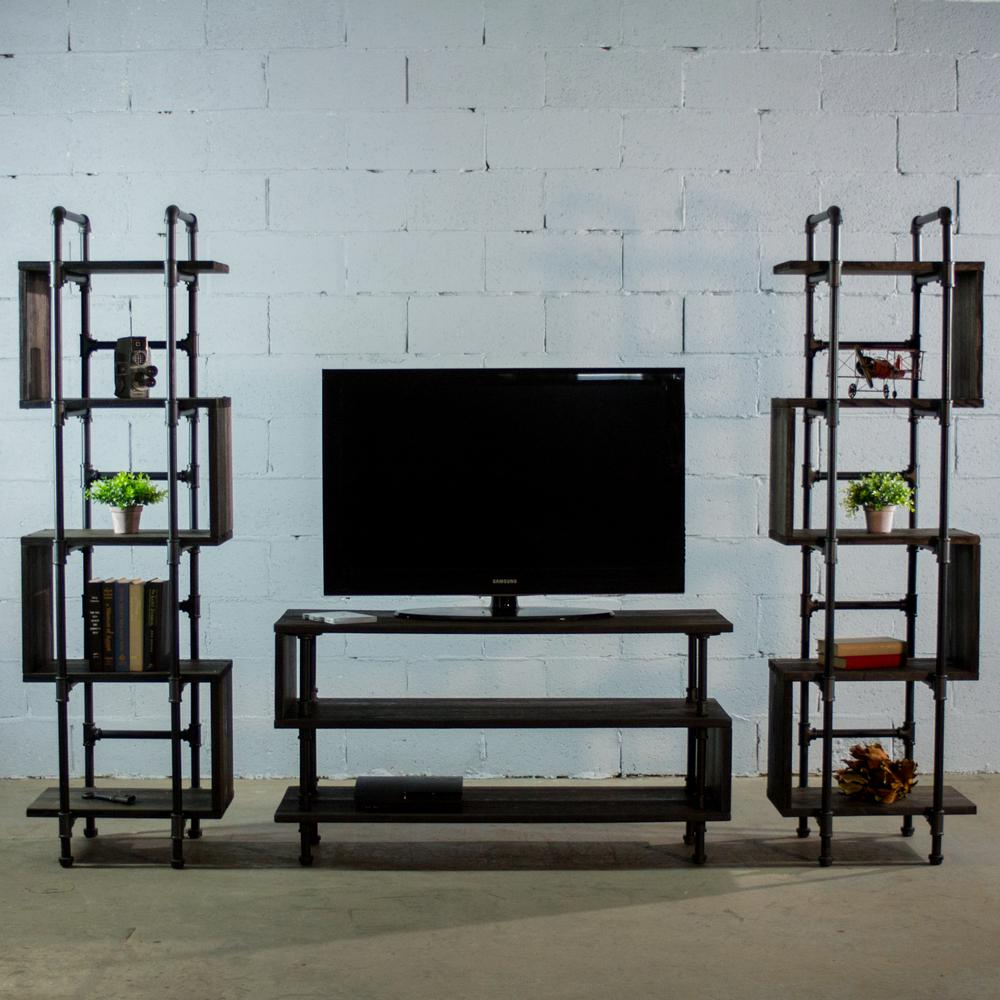 Furniture pipeline tucson modern industrial black tv media stand entertainment center console metal reclaimed aged wood tvow1 bl bl bl the home depot