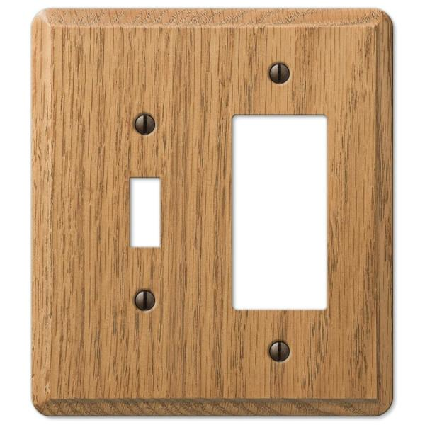 Contemporary 2 Gang 1-Toggle and 1-Rocker Wood Wall Plate - Light Oak