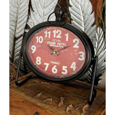 9 in. x 9 in. Black Round French Tour Table Clocks (Set of 3)
