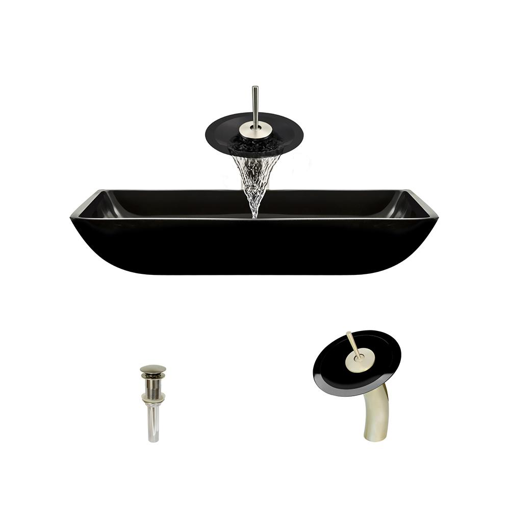 MR Direct Glass Vessel Sink in Black with Waterfall Faucet and Pop-Up Drain in Brushed Nickel