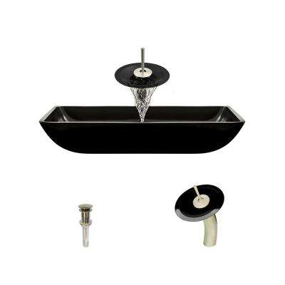 Glass Vessel Sink in Black with Waterfall Faucet and Pop-Up Drain in Brushed Nickel