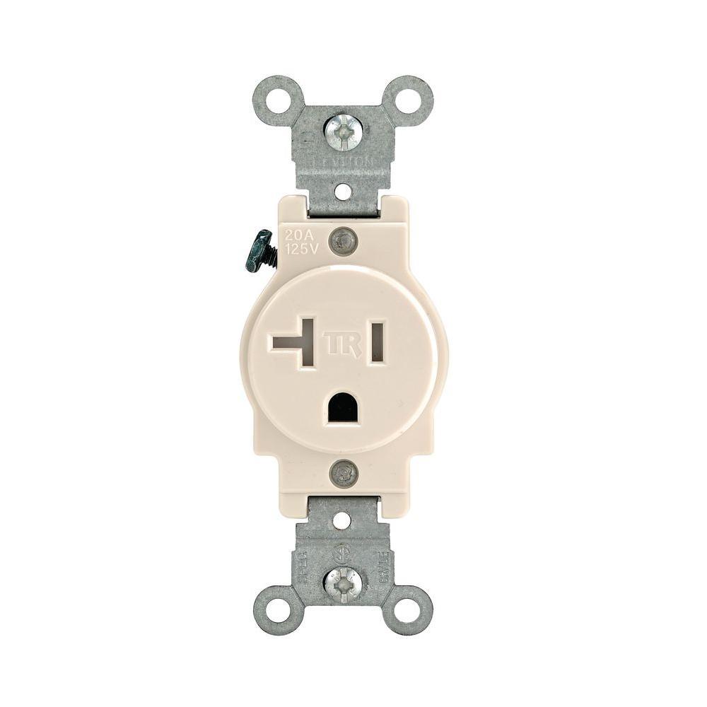 20 Amp Commercial Grade Tamper Resistant Single Outlet, Light Almond