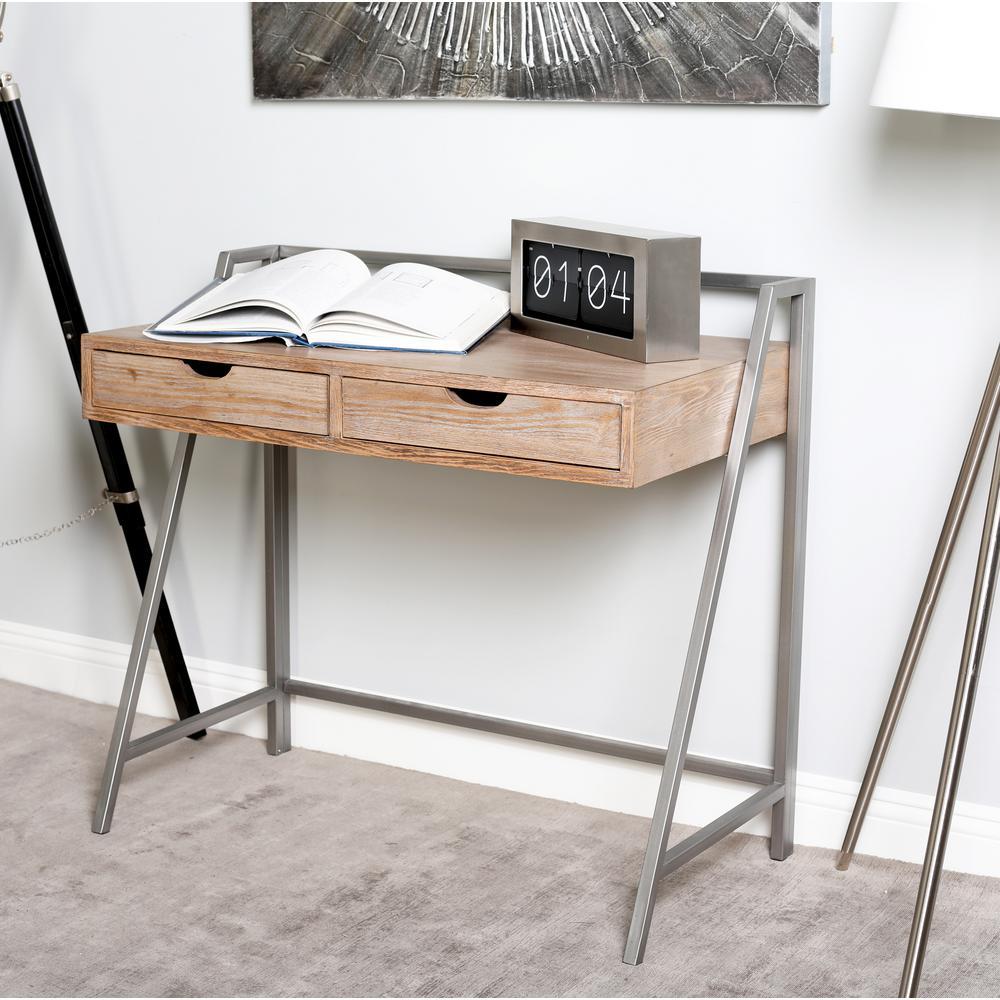 Brown 2-Drawer Rectangular Desk
