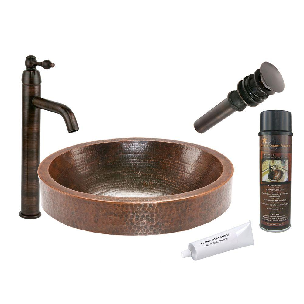 All-in-One Oval Skirted Vessel Hammered Copper Bathroom Sink in Oil Rubbed