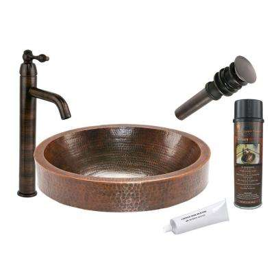 All-in-One Oval Skirted Vessel Hammered Copper Bathroom Sink in Oil Rubbed Bronze