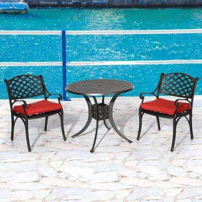 Hephaestus 3-Piece Aluminum Outdoor Dining Set with Red Cushions