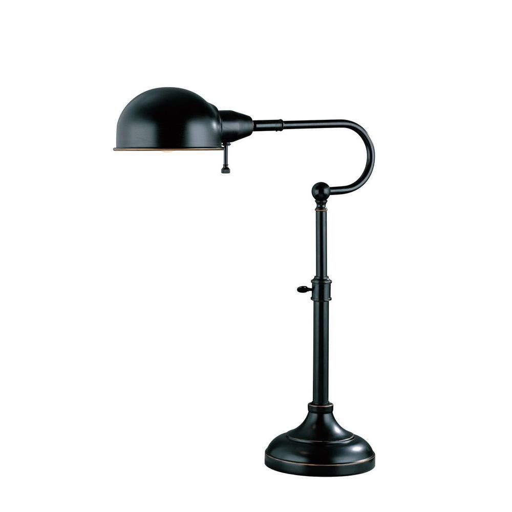 Illumine Designer Collection 22.5 in. Bronze Desk Lamp with Dark Bronze Metal Shade