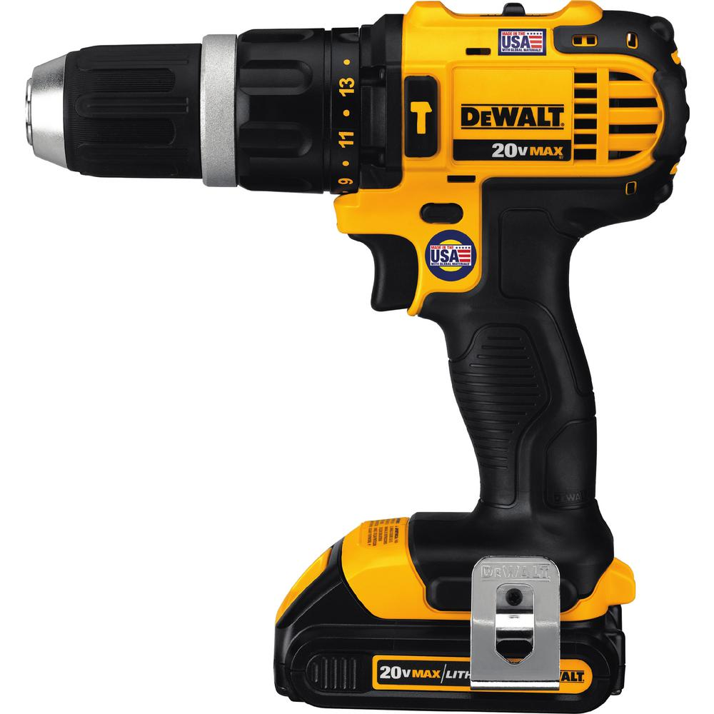 Dewalt 20 Volt Max Lithium Ion Cordless Compact Hammer Drill Driver Kit With 2 Batteries 1 5ah Charger And Contractor Bag Dcd785c2 The Home Depot