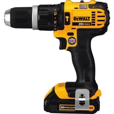 20-Volt MAX Lithium-Ion Cordless Compact Hammer Drill/Driver Kit with (2) Batteries 1.5Ah, Charger and Contractor Bag