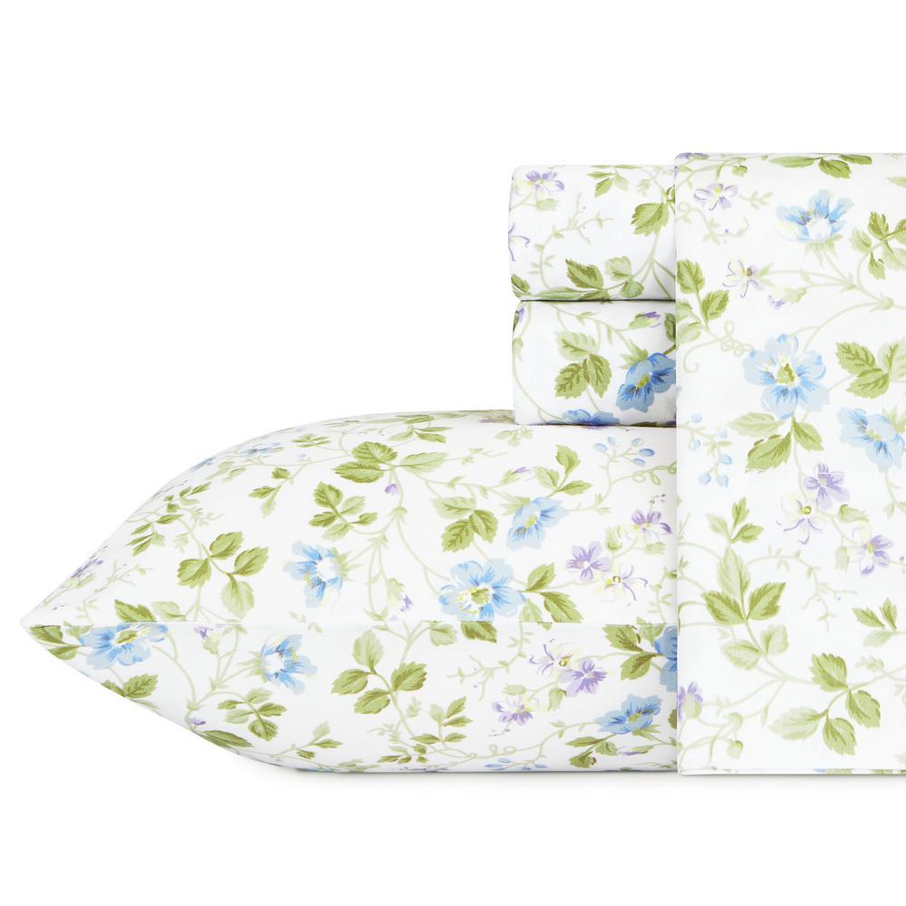 4-Piece Blue Floral 300 Thread Count Sateen Queen Sheet Set