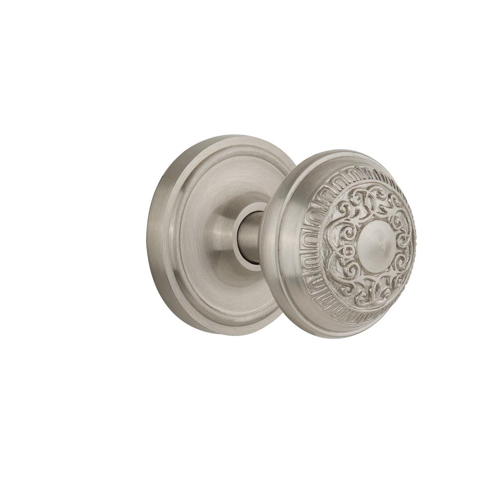 Classic Rosette 2-3/8 in. Backset Satin Nickel Passage Hall/Closet Egg and