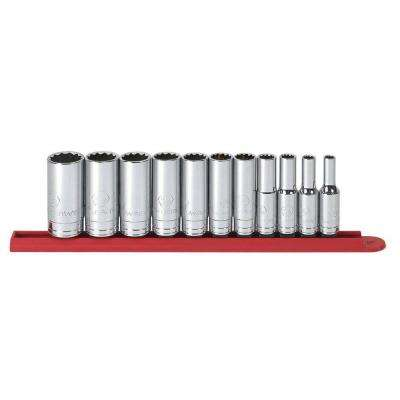 3/8 in. Drive SAE 12-Point Deep Socket Set (11-Piece)