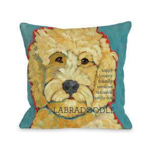 Labradoodle Blue Graphic Polyester 16 in. x 16 in. Throw Pillow