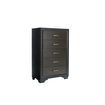 Dakota 5-Drawer Mahogany and Black Chest of Drawers