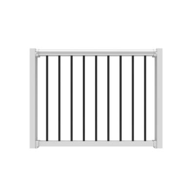 36 in. to 48 in. White Poly-Composite Rail Gate Kit with Metal Balusters