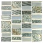 Imperial Silver Sea Deco Mosaic 12 in. x 12 in. Glass Wall Tile (1 Sheet)