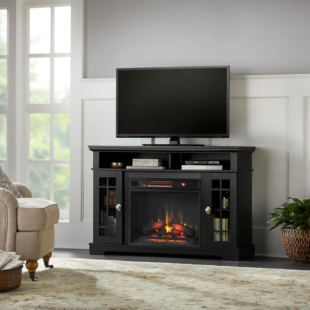 Home Decorators Collection Home Decorators Collection Canteridge 47 in. Freestanding Media Mantel Electric TV Stand Fireplace in Black with Oak Top
