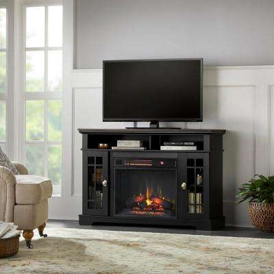 Canteridge 47 in. Freestanding Media Mantel Electric TV Stand Fireplace in Black with Oak Top
