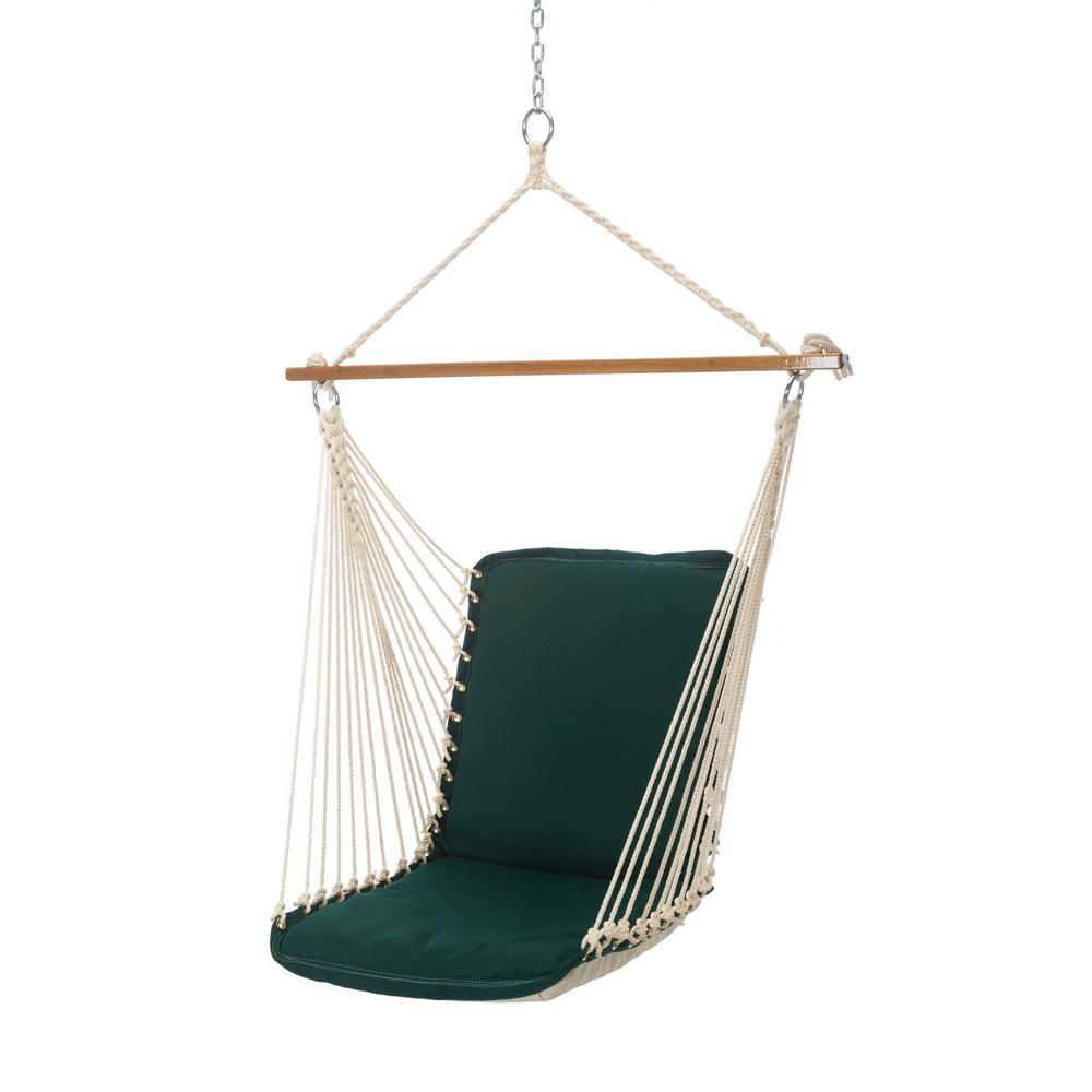 Single Sunbrella Cushioned Hammock Swing in Canvas Forest Green