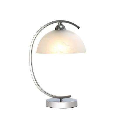 15 in. Chrome Table Lamp with Frosted Glass Shade