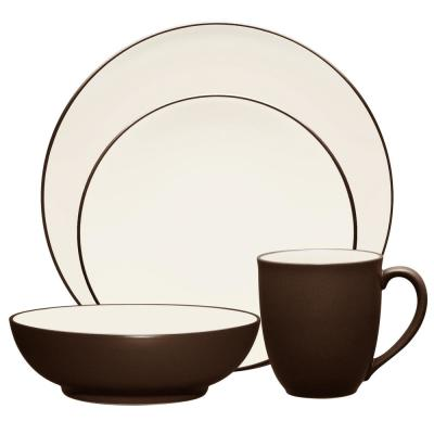 Colorwave Coupe 4-Piece Casual Chocolate Stoneware Dinnerware Set (Service for 1)