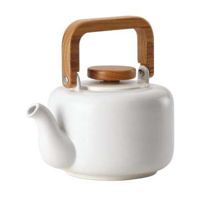 Ceramic Coffee and Tea 8-Cup Matte White Ceramic Teapot with Infuser