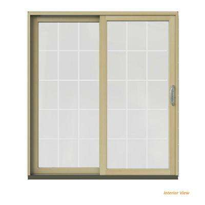 72 in. x 80 in. W-2500 Contemporary White Clad Wood Left-Hand 15 Lite Sliding Patio Door w/Unfinished Interior