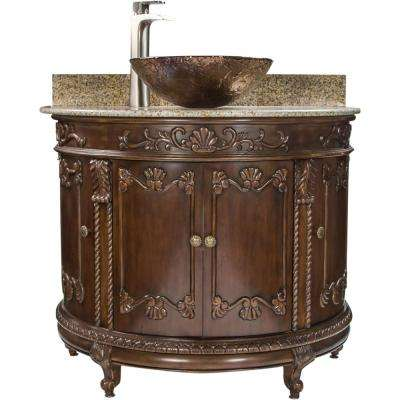 Semi Circle 36.9 in. W x 23 in. D Bath Vanity in Espresso with Granite Vanity Top in Beige with Cobalt Copper Basin