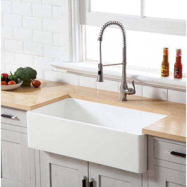 Unbranded Fireclay 33 In Single Bowl Apron Front Farmhouse Kitchen Sink White Porcelain Ceramic Kitchen Sink Uc3320 Wh The Home Depot