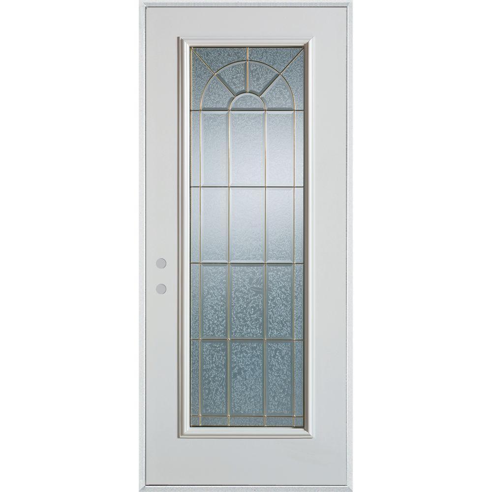 Stanley Doors 32 in. x 80 in. Geometric Zinc Full Lite Painted White Right-Hand Inswing Steel Prehung Front Door